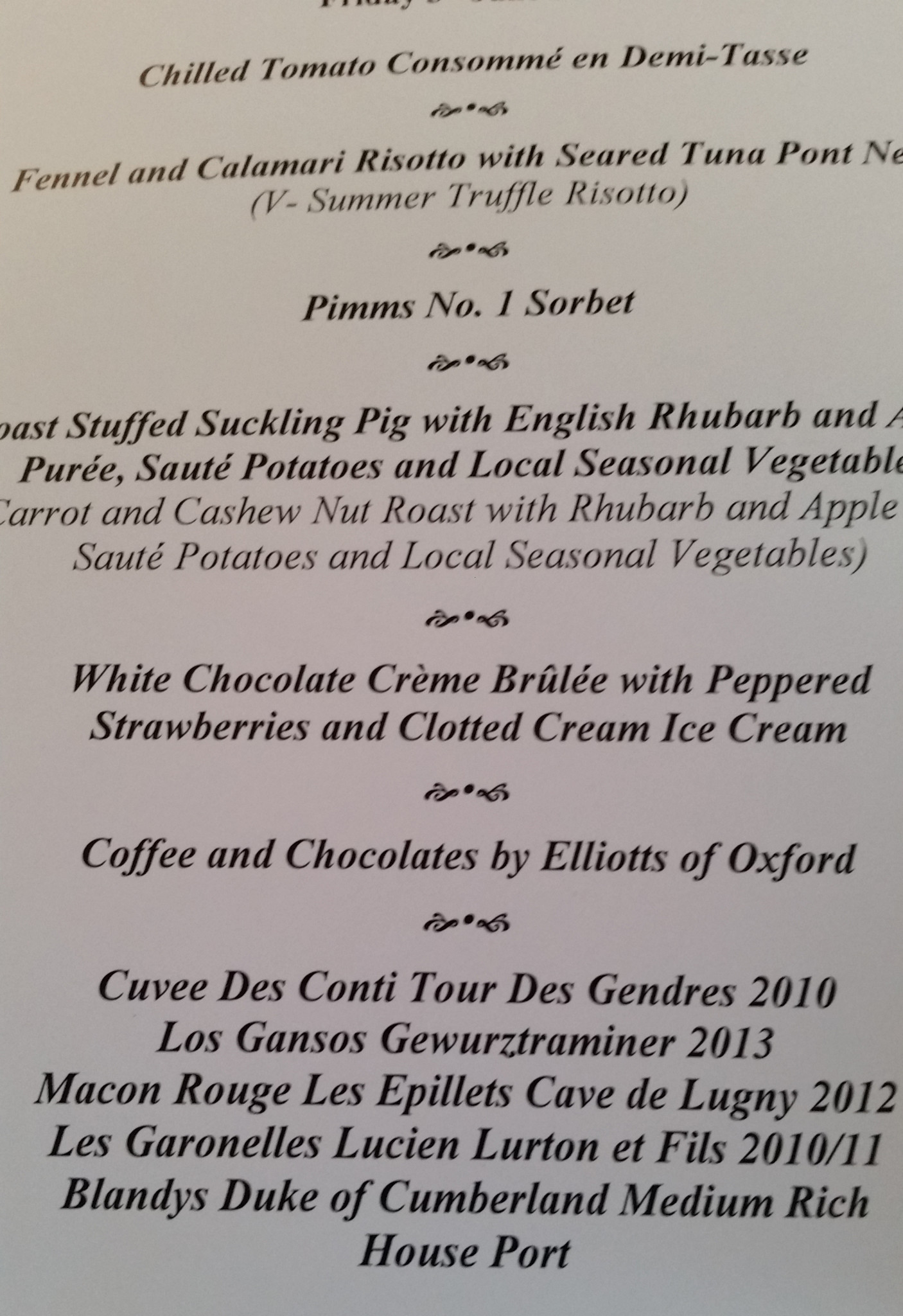 Another Food Blog Christ Church Oxford menu
